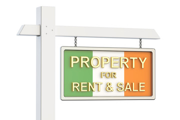 Property for sale and rent in Ireland concept. Real Estate Sign,