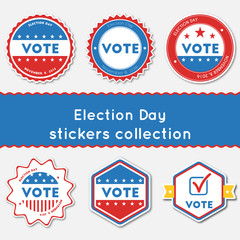 Election Day stickers collection. Buttons set for USA presidential elections 2016. Collection of blue and red patriotic badges. Round tokens vector illustration.