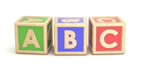 Letter blocks ABC. 3D