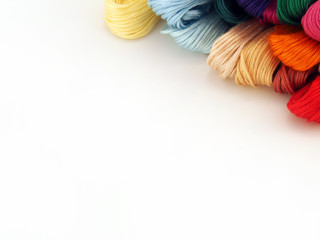 threads for needlework, embroidery, mouline thread, sewing background