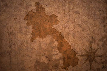 laos map on vintage crack paper background