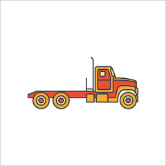 Truck flat sign icon on background