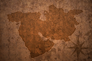 middle east map on vintage crack paper background