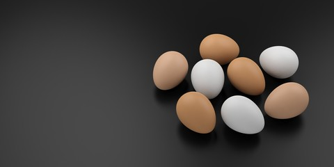 White and brown eggs on black background. 3d illustration