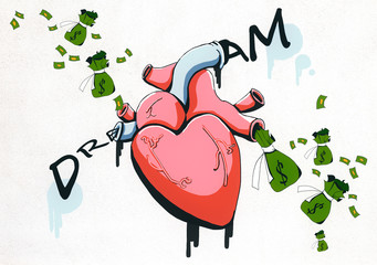 Realistic heart and money sketch