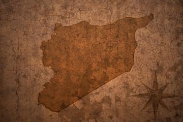 syria map on vintage crack paper background