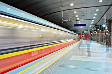 Motion blurred subway train
