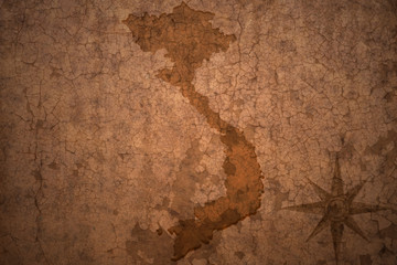 vietnam map on vintage crack paper background