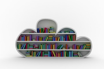 Gray shelf with colorful books