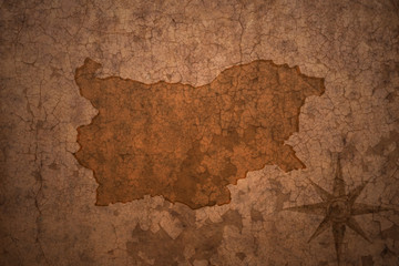bulgaria map on vintage crack paper background