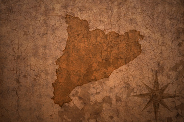 catalonia map on vintage crack paper background