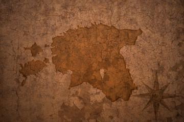 estonia map on vintage crack paper background