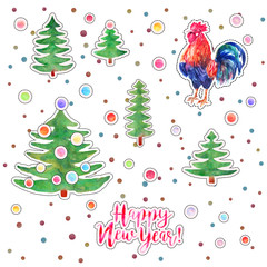 Vector set of watercolor green Christmas trees with balls, cock