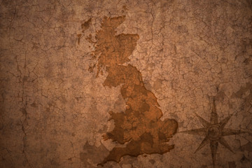 great britain map on vintage crack paper background