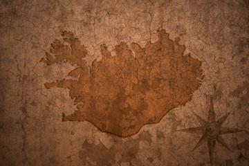 iceland map on vintage crack paper background