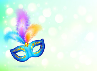 Blue carnival mask with colorful feathers vector banner background
