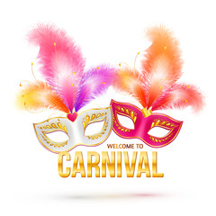 Bright vector carnival masks with feathers and golden sign Welcome to Carnival