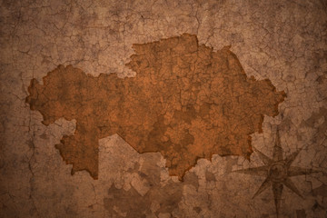kazakhstan map on vintage crack paper background