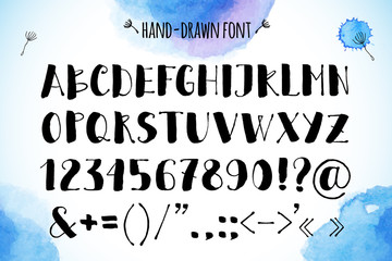 Hand-drawn brush painted vector alphabet on watercolor background