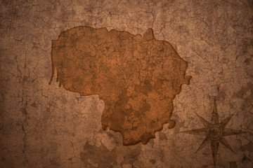 lithuania map on vintage crack paper background