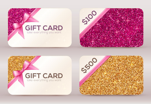 Set of golden and pink glitter vector gift cards templates