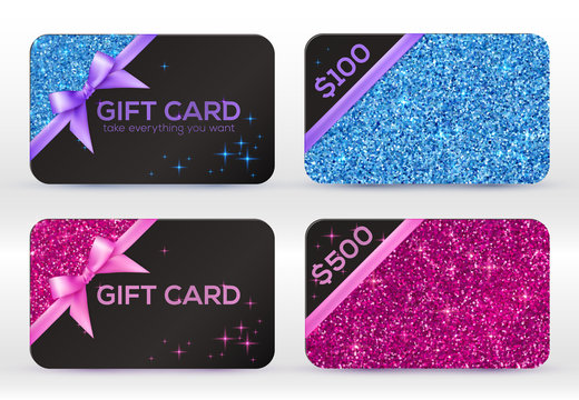 Set of blue and pink glitter vector black gift cards templates