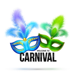 Bright vector carnival masks with feathers and black sign Welcome to Carnival