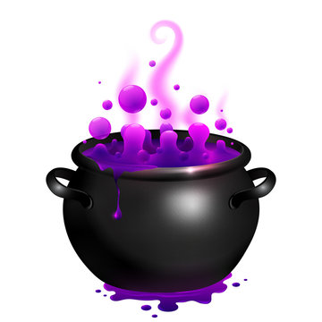 Black vector cauldron with purple witches magic broth