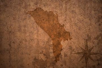 moldova map on vintage crack paper background