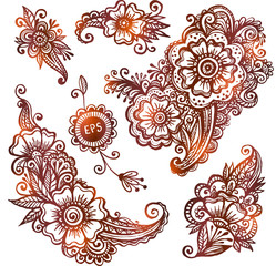 Hand-drawn vector ornaments set in Indian mehndi style