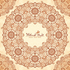 Vector decorative round frame in Indian mehndi style