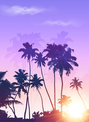 Violet sunrise palms silhouettes vector poster background