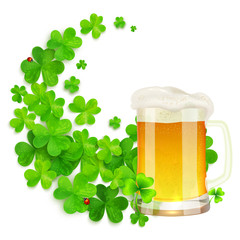 Mug of light beer on green clovers swirl background, vector St. Patricks Day illustration