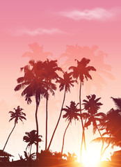 Pink sunset palms silhouettes vector poster background