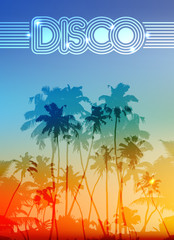 Palm silhouettes vector summer sunset disco background