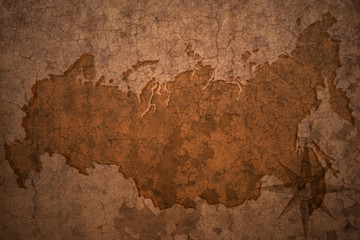 russia map on vintage crack paper background