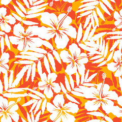 Orange and white tropical flowers silhouettes vector seamless pattern