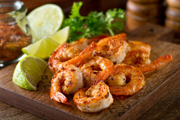 Deurstickers Schaaldieren Cajun Shrimp