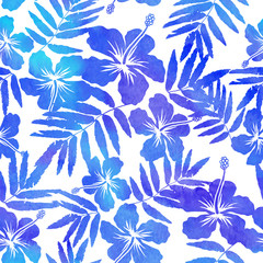 Blue watercolor vector hibiscus silhouettes seamless pattern