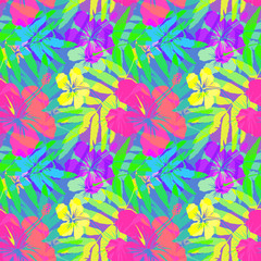 Vivid tropical flowers and leaves vector seamless pattern tile