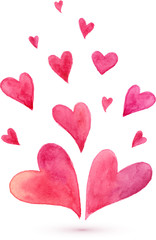 Watercolor painted lovely flying pink vector hearts