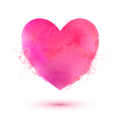 Pink vector Valentines Day heart in watercolor style isolated on white background