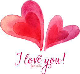 Pair of vector watercolor painted hearts with calligraphic sign I love you