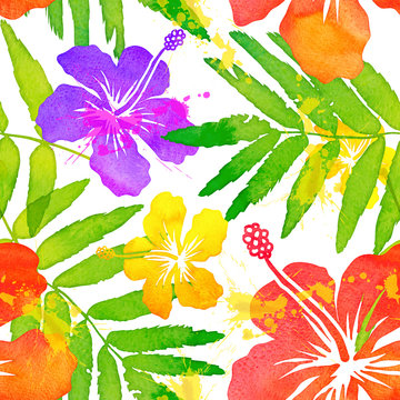 Bright watercolor tropical flowers vector seamless pattern tile