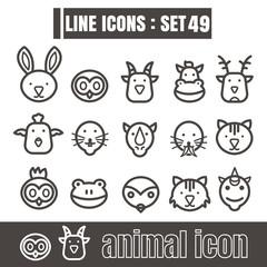 icons line face animal Modern design black vector on white backg