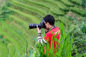 A professional photographer outdoor portrait lens.