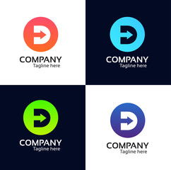 D letter round icon company logo sign vector design