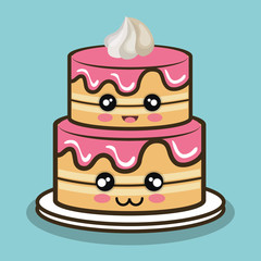 big cake cartoon with cream pink graphic vector illustration eps 10