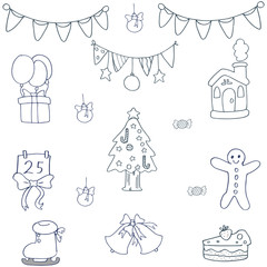 Hand draw christmas object of doodles