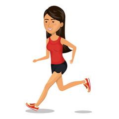 character woman running sport icon vector illustration